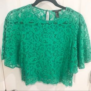 FOREVER21 LACE SHORT SLEEVES BLOUSE
